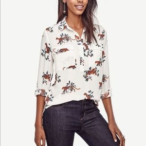 Ann Taylor Jungle Cat Camp Popover Long Sleeve Top